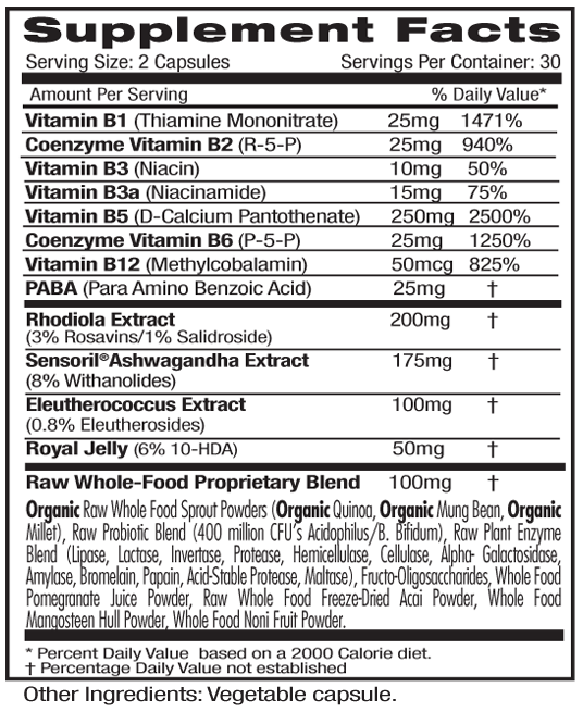 Ultra Botanicals Adrenal Supp Facts